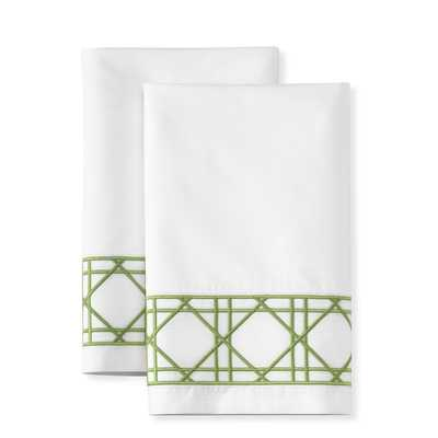 Cane Embroidery Pillowcases, Pair, Green (set of 2) - Williams Sonoma