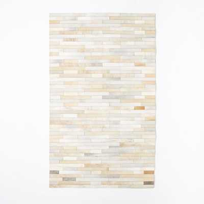 Pieced + Patched Cowhide Rug - Stripe - West Elm