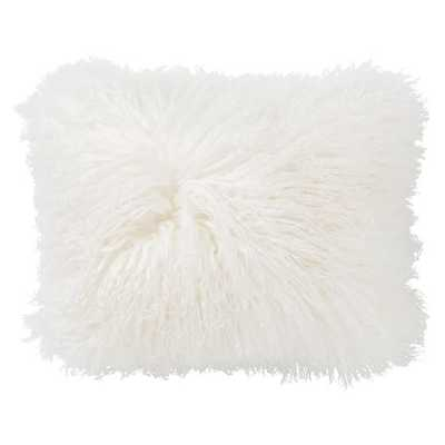 "Mongolian Fur Pillow Cover - 16"" x 12"" - White - Insert sold separately - Pottery Barn Teen"