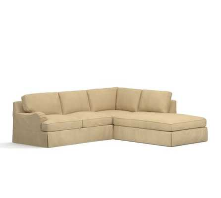 PB Comfort English Arm Slipcovered 3-Piece Bumper Sectional with Corner - Pottery Barn