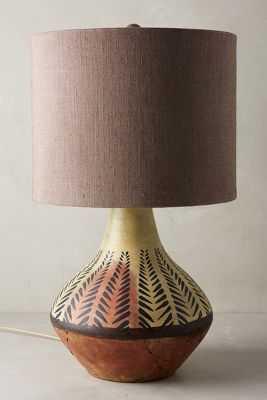 Handpainted Earthenware Table Lamp Ensemble - Anthropologie