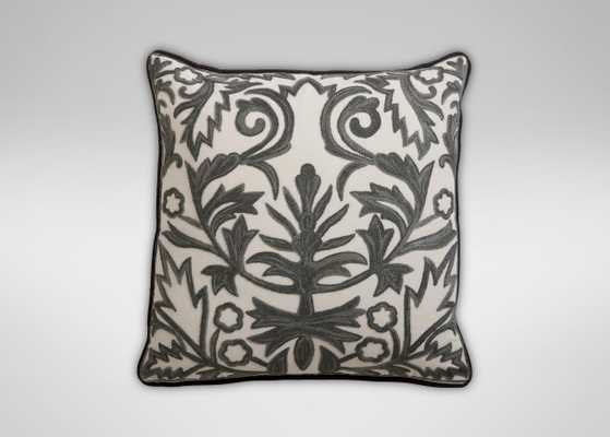 """Crewel Embroidered Fern Trellis Pillow- 18"""" x 18""""- Ivory, gray- Insert Sold Separately - Ethan Allen"""