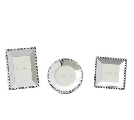 BEADED SILVER-PLATED PICTURE FRAME, SET OF 3 MINI, ONE OF EACH STYLE - Pottery Barn