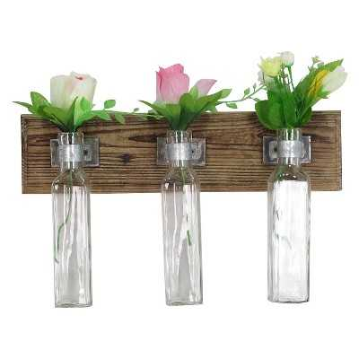 Wood And Glass Flower Holder - Target