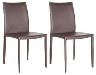 Brown Leather Caldwell Chairs, Pair - One Kings Lane