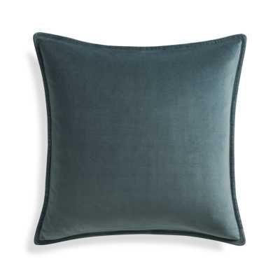 "Brenner Leaf Green 20"" Velvet Pillow- Feather/Down-alternative insert - Crate and Barrel"