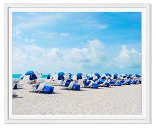 "Natalie Obradovich, Blue/White Umbrellas - 48""W x 39""H - framed - One Kings Lane"