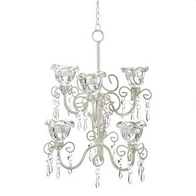 Elaborate Crystal and Candle Double Hanging Chandelier - Overstock