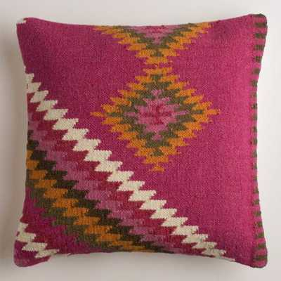"Montesilvano Wool Throw Pillow - 18""Sq. - Polyester filling - World Market/Cost Plus"
