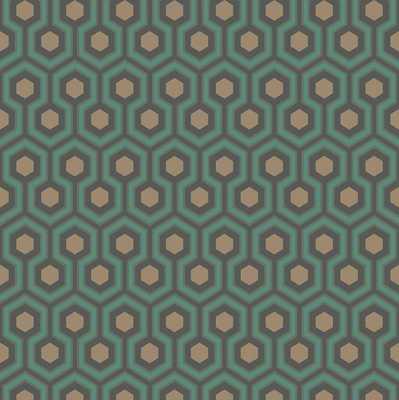 Hicks' Hexagon - Walnut Wallpaper