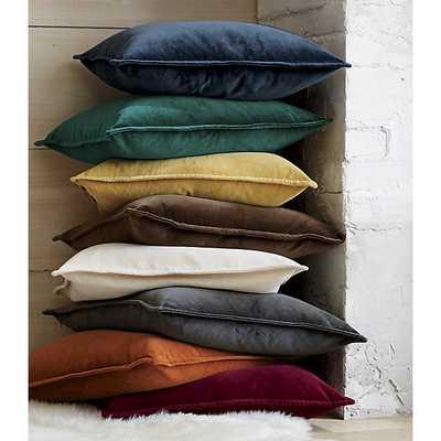 Brenner Velvet Pillow - blue - 20x20 - Feather Insert - Crate and Barrel