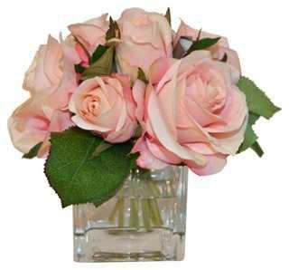 """7"""" Roses in Cube Vase, Faux - One Kings Lane"""