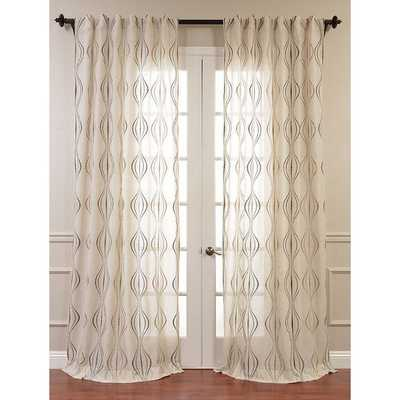 EFF Suez Embroidered Faux Linen Sheer Curtain Panel - Overstock