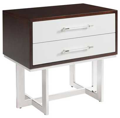 Balmour Modern Classic Espresso Light Grey Wood Steel Nightstand - Kathy Kuo Home