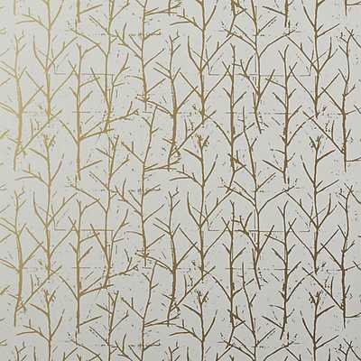 crumpled trees metallic traditional paste wallpaper - CB2