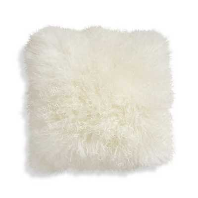 Pelliccia Mongolian Lamb Fur Pillow - Ivory, 16x16, Feather Insert - Crate and Barrel