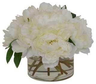 Cream Peonies in Glass Vase, Faux - One Kings Lane