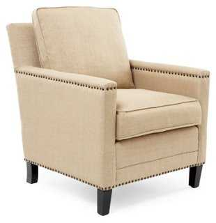 Jonah Nailhead Club Chair, Jute - One Kings Lane