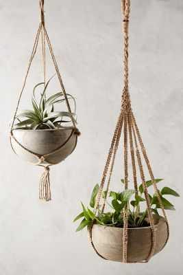Kiri Wood Hanging Planter- Large - Anthropologie