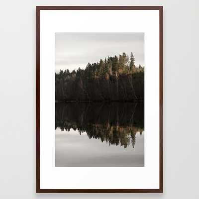 """Reflections on a forrest lake 2 - FRAMED ART PRINT/CONSERVATION WALNUT LARGE (GALLERY) (26"""" X 38"""") - Society6"""