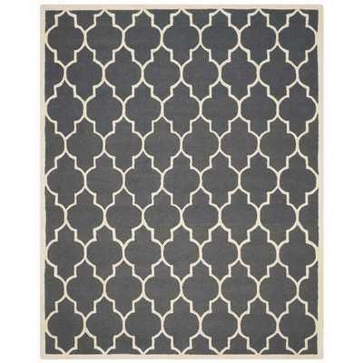 Safavieh Handmade Moroccan Cambridge Dark Grey/ Ivory Wool Rug (9' x 12') - Overstock