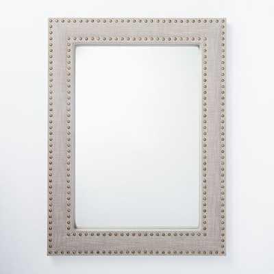 Upholstered Wall Mirror, Linen, Doe - West Elm