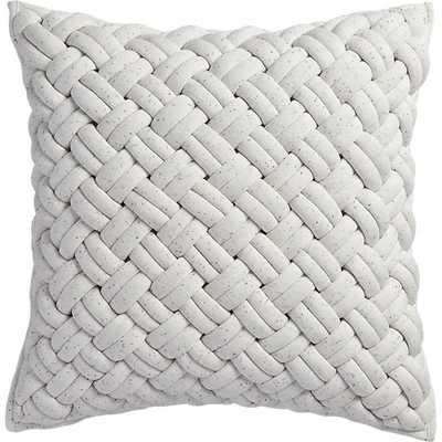 "Jersey interknit pillow - 20"" x 20"" - Ivory - Down-alternative insert - CB2"