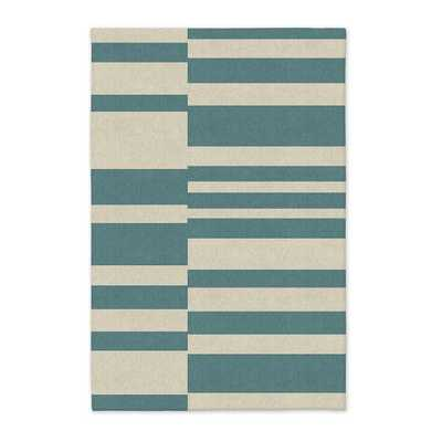 Offset Stripe Wool Dhurrie - Lapis - 6' x 9' - West Elm