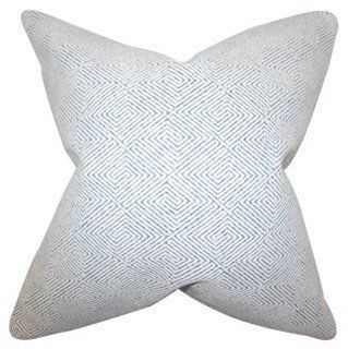 Zif 18x18 Cotton Pillow, White/Navy - One Kings Lane