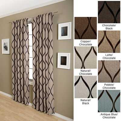 Sahara Rod Pocket 108-inch Curtain Panel Natural w/ Chocolate - Overstock
