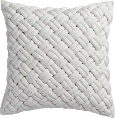 """jersey interknit ivory 20"""" pillow with feather insert - CB2"""