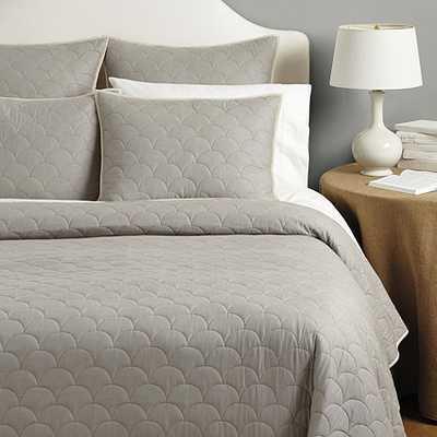 Cora Scalloped Quilt - Gray, Queen - Ballard Designs