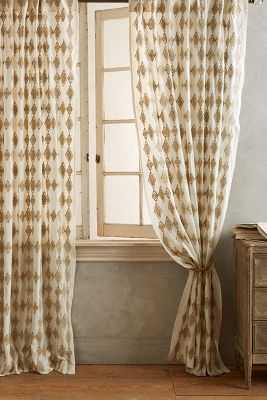 "Tumbling Diamonds Curtain-Natural-63"" - Anthropologie"