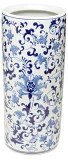 """18"""" Floral Umbrella Stand, Blue/White - One Kings Lane"""