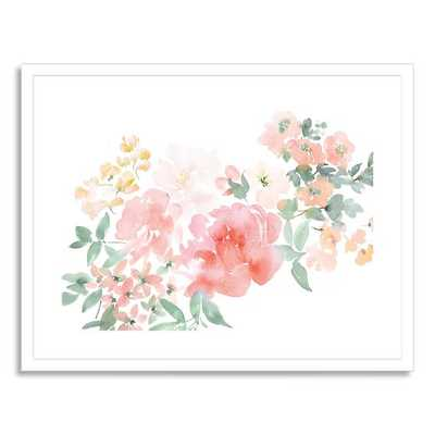 "Peony with Spring Flowers - 28""w x 22""l - framed - West Elm"