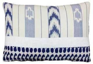 Terry 14x20 Cotton Pillow, White/Navy - One Kings Lane
