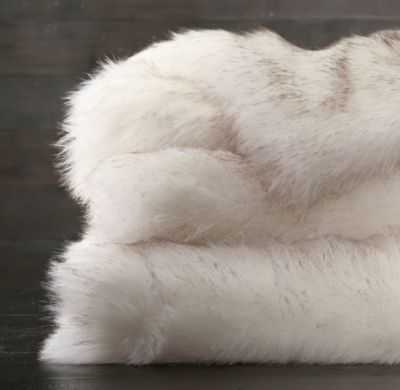 Exotic Faux Fur Throw - Arctic White Mink - RH