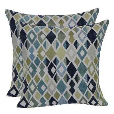 "Geometric Jacquard Throw Pillow with Suede Back - Blue -18""x18""-Insert - Target"