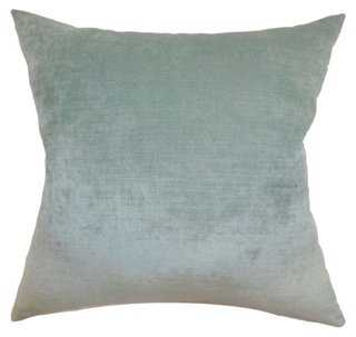 Vince 18x18 Pillow - Aqua - Feather/down insert - One Kings Lane