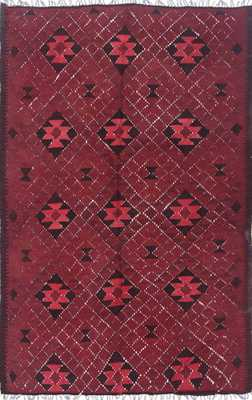 """Hand-knotted Vintage overdyed Kilim 5' x 7' 11"""" Burgundy - Domino"""