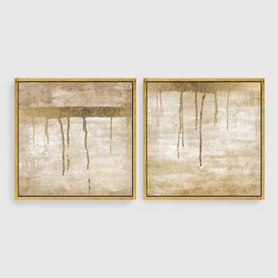 Dripping in Gold Abstract Canvas Wall Art Gold Leaf Set of 2-Framed - World Market/Cost Plus