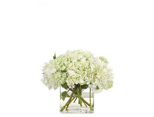 Hydrangea, White, Glass Cube - Domino