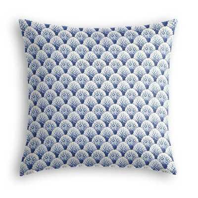 Nautical Blue Scallop Fabric Throw Pillow - Domino