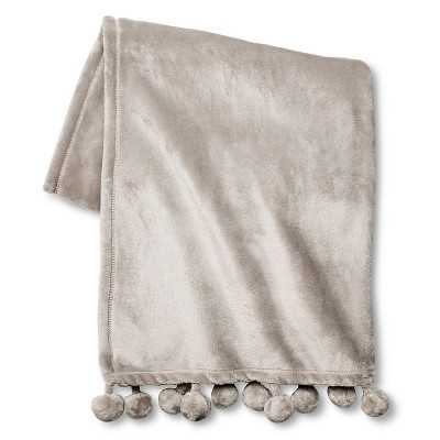 "Xhilarationâ""¢ Pom Pom Throw - Jet Gray (50""x60"") - Target"