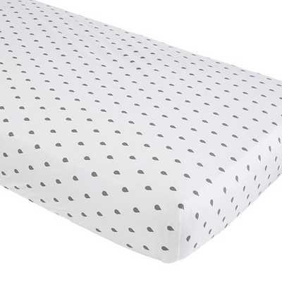 Grey Raindrops Iconic Crib Sheet - Land of Nod