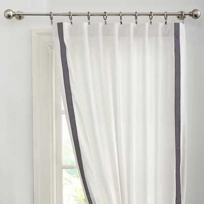 "Suite Ribbon Drape with Blackout Lining - 52"" x 108""/Gray - Pottery Barn Teen"
