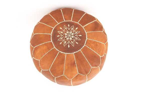 Set of 2 Moroccan Designer Tan Brown Luxury Leather Poufs Hand Stitched and Embroidered - Etsy