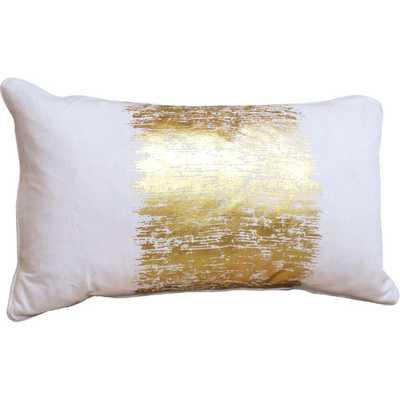 "Agatha Metallic Banded Cotton Lumbar Pillow-Gold- 12"" H x 20"" W x 6"" D-  Down/Feather insert - AllModern"