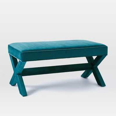 Cross Base Upholstered Bench - Celestial Blue - West Elm