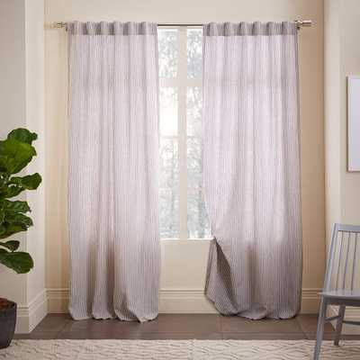 "Striped Belgian Flax Linen Curtain - 84""L x 48""W - West Elm"